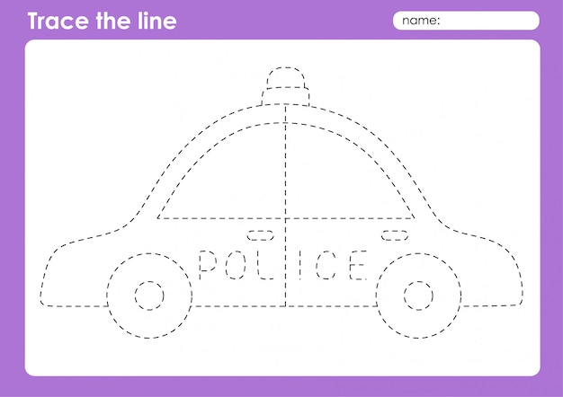 Police car - транспортные линии трассировки дошкольного рабочего листа для детей