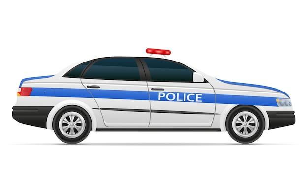 白い背景で隔離のパトカー車両イラスト