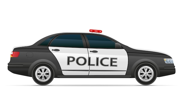 Иллюстрация полицейской машины, изолированные на белом фоне