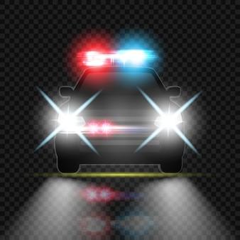 밤 도로에서 헤드 라이트 플레어와 사이렌이있는 경찰차. 특수 적색 및 청색 광선