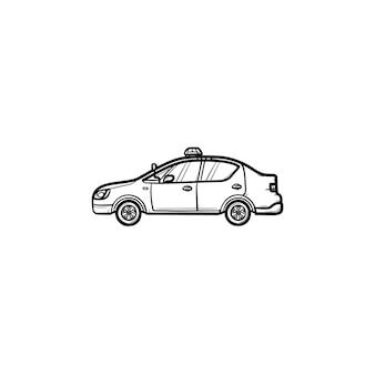 サイレンの側面図手描きのアウトライン落書きアイコンとパトカー。警察のパトロール、犯罪の安全と法律の概念