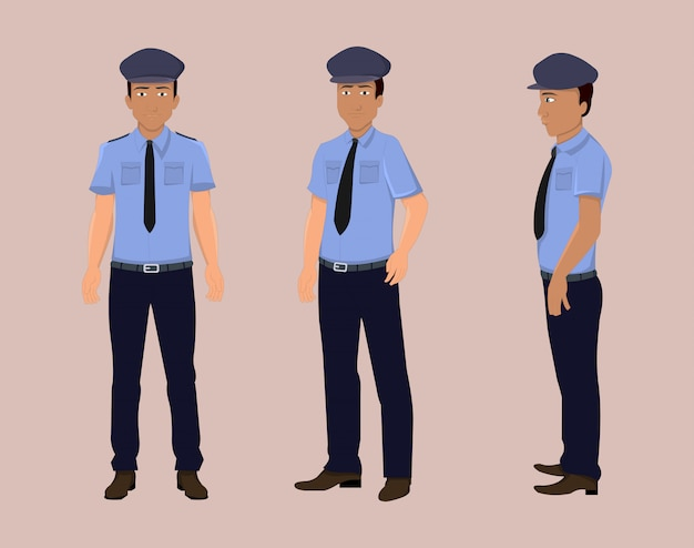 Police cartoon character turn around for motion design or animation