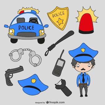 警察の漫画ベクトル