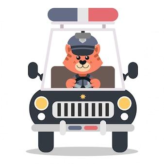 차를 운전하는 경찰 고양이