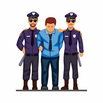警察はビジネスマン、汚職政治家または違法なビジネスシンボルを捕まえて手錠をかけました