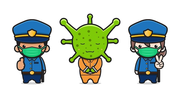경찰은 바이러스 만화 아이콘 벡터 일러스트를 잡았습니다. 디자인 고립 된 평면 만화 스타일