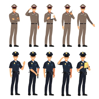 Police character set,  illustration cartoon character.