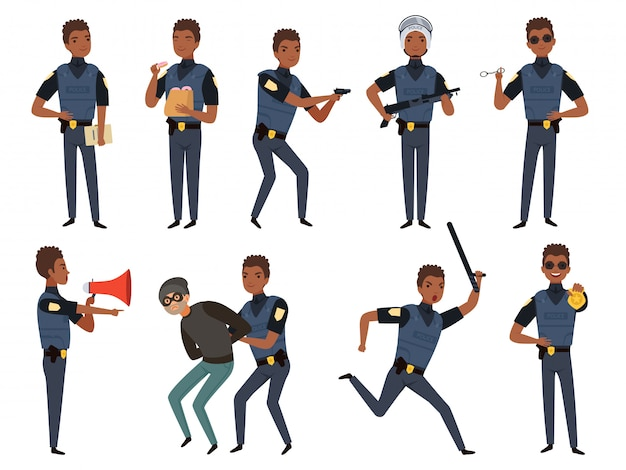 Police characters. patrol policeman security authority mascots in action poses  cartoon illustrations
