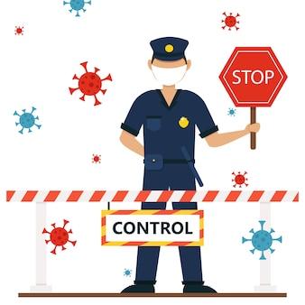 警察、コロナウイルス保護イラスト