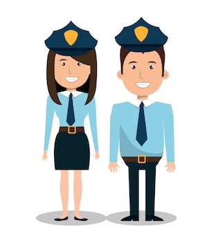 Police couple illustration