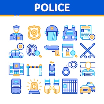 Police department collection icons set