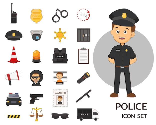 Плоские значки концепции полицейского участка
