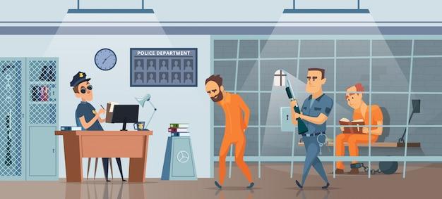 Полицейский участок. мужской полицейский на рабочем месте кабинета и комната для заключенных картина