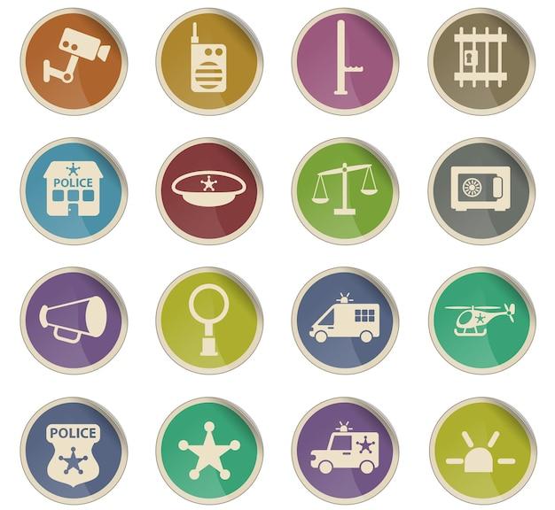Полицейские векторные иконки в виде круглых бумажных этикеток