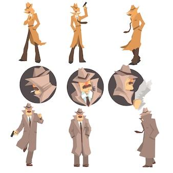 職場での警察の刑事および私立探偵が犯罪の捜査および解決覆面肖像画のセット