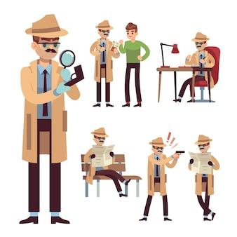 Детектив полиции набор иллюстрации