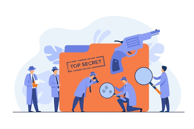 Police detectives searching evidences with magnifying glass flat vector illustration. cartoon spies or agents in hats, gun and undercover file. mystery and investigation concept