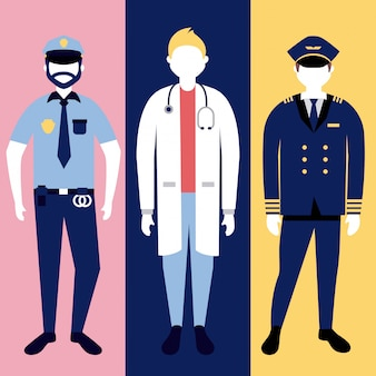 Police, doctor and militar man character