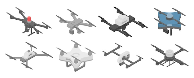 Police drone icons set, isometric style