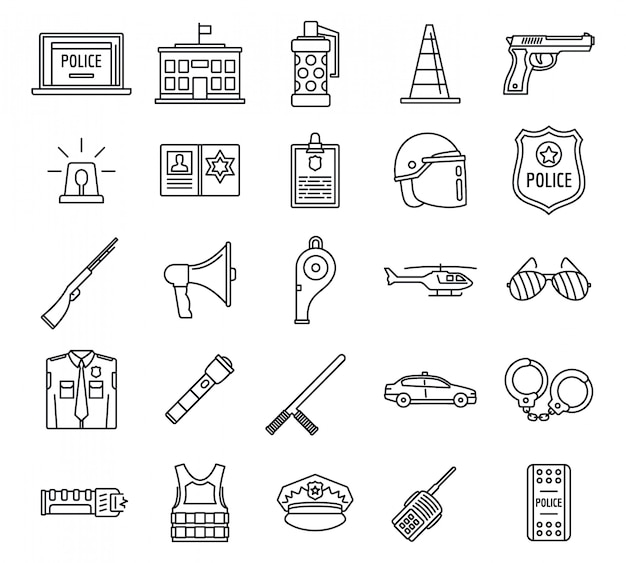 Police equipment element icons set