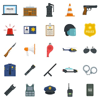 Police equipment icons set