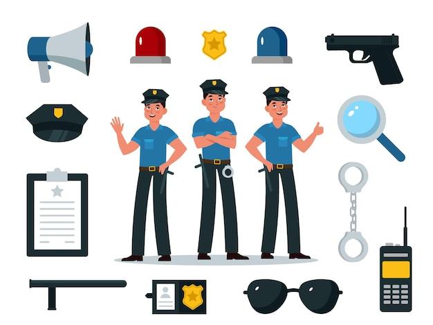 警察の装備。プロの装備、バッジ、手錠、トランシーバー、警棒、銃、子供のためのプロのシンボルと制服を着た警察官のキャラクターベクトルフラット漫画分離セット