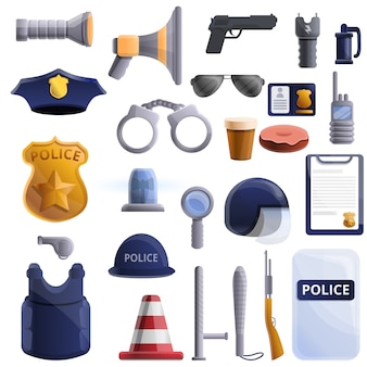 Police equipment set, cartoon style