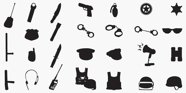 Police equipment set silhouettes
