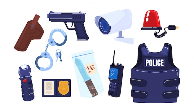 Police force law enforcement icon set, militia stuff pistol, body armor handcuffs, gun evidence knife isolated on white, cartoon illustration.
