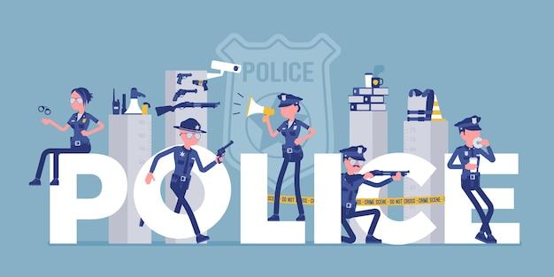 남성, 여성 경찰관이 있는 경찰의 거대한 편지. 제복을 입은 경찰관은 범죄 예방, 탐지, 법률 유지의 전문적인 의무를 수행합니다. 벡터 일러스트 레이 션, 얼굴 없는 문자