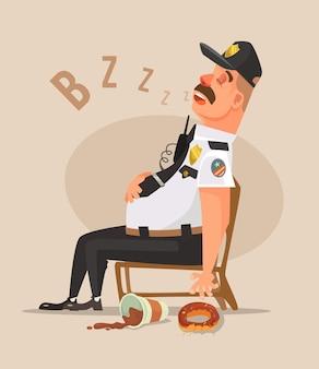 Полицейский охранник мужчина персонаж спит плоский мультфильм иллюстрации