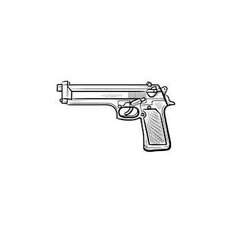 警察の銃の手描きのアウトライン落書きアイコン。警察の制御および自己防衛兵器の概念としての拳銃