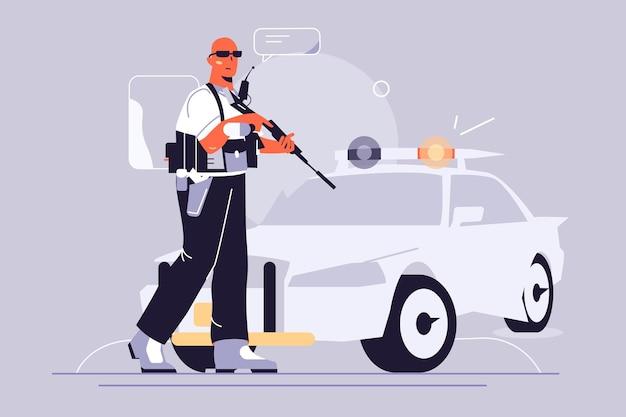 경찰 남자와 자동차 그림. 무기 플랫 스타일로 제복을 입은 경찰관.
