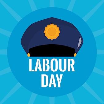 Police hat uniform. labour day