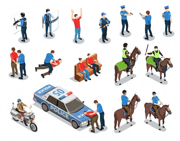 Police icons set