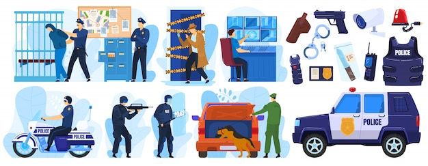Полицейский набор иллюстраций, карикатурный полицейский и криминальные персонажи при аресте, сотрудники полиции в форме