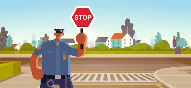 Police inspector holding stop sign policeman officer in uniform security authority road traffic safety regulations service concept flat portrait horizontal