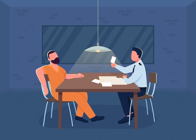 Police interrogation flat color illustration. room for investigation. cop interrogate suspect for confession. policeman and prisoner 2d cartoon characters with department interior on background