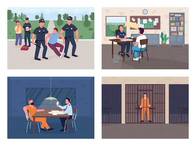 Police investigation flat color  illustration set arrest burglar officer interview victim policeman witness and criminal  cartoon characters with department