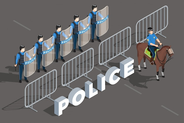 Police isometric composition