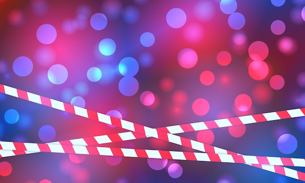 Police lights flash red and blue glowing flares on night bokeh background