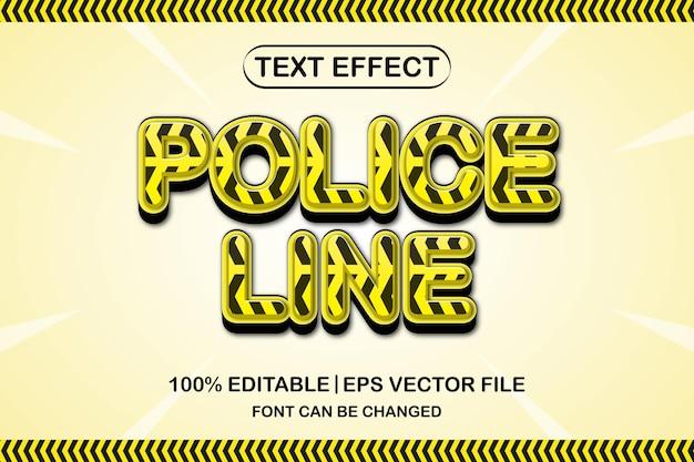 경찰 라인 3d 편집 가능한 텍스트 효과