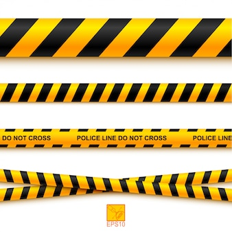 Police line tape and danger on a light background. vector illustration. eps 10