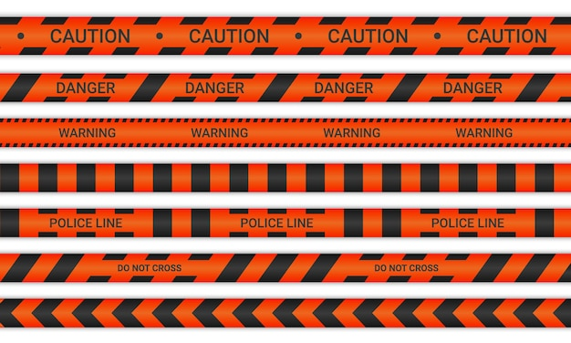 Police lines and don't cross ribbons. caution and danger tapes in red and black color. warning signs collection isolated on white background. vector illustration.
