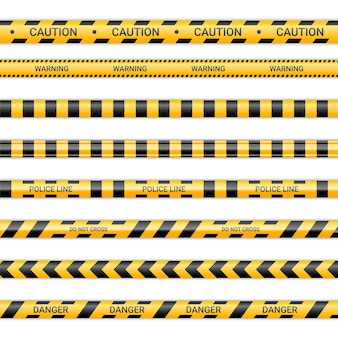 Police lines and don't cross ribbons. caution and danger tapes in yellow and black color. warning signs collection isolated on white background. vector illustration.