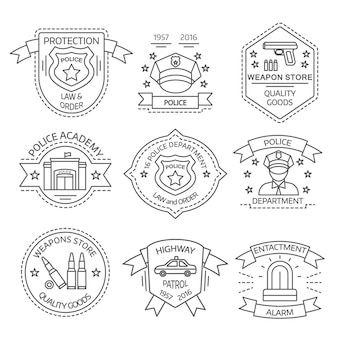 Police logo set with police academy weapon store enactment alarm descriptions vector illustration