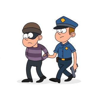 警察の男が強盗を捕まえた