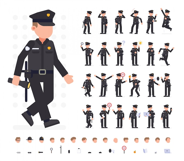Police man character set in different poses. flat vector illustration. isolated