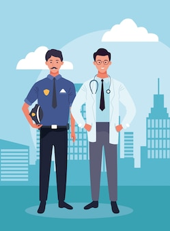 Police man and doctor standing over urban city buildings scenary