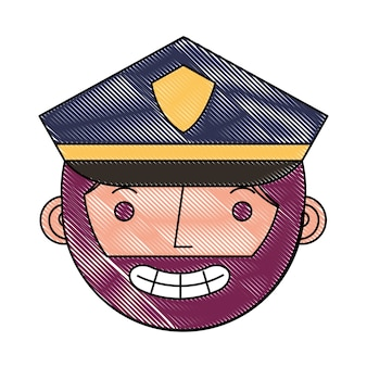 유니폼 캐릭터 얼굴 캐릭터에 경찰 남자